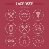 Lacrosse sport game vector line icons. Ball, stick, helmet, gloves, girls goggles. Linear signs set, championship. Pictograms with editable stroke for event royalty free illustration
