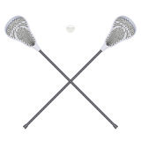 Lacrosse  sticks and ball. Equipment Front View Royalty Free Stock Photography
