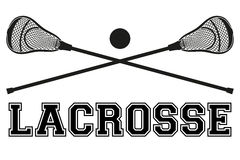 Lacrosse sticks and ball. Flat style Royalty Free Stock Photo