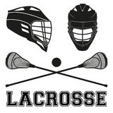 Lacrosse sticks and helmets. Flat style Royalty Free Stock Photography