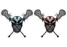 Lacrosse-Sturzhelme und Steuerknüppel Lizenzfreie Stockfotos