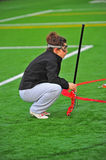 Lacrosse surveying the field Stock Photography