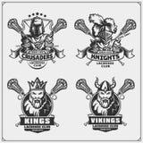 Lacrosseklubbaemblem med viking, konung, riddare och korsfarare royaltyfri illustrationer