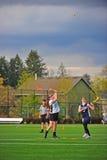 Lacrossemädchenabgehobener betrag Lizenzfreies Stockfoto