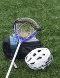 Lacrossestok, helm en zak royalty-vrije stock fotografie