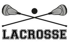 Lacrossestokken en bal Vlakke stijl royalty-vrije illustratie