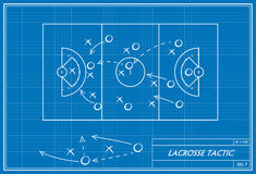 Lacrossetaktik auf Plan Stockfotos