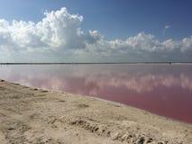 Lacs brine pour le producction de sel photos stock