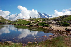 Lacs des Cheserys, Mont Blanc-massief, Frankrijk Stock Fotografie