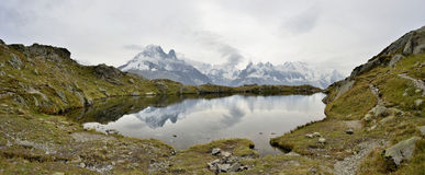 Lacs des Cheserys, Mont Blanc massif, France. Panoramic view from Lacs des Cheserys, Mont Blanc massif, France stock photo