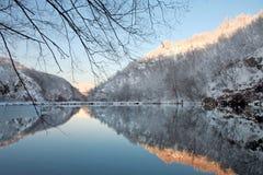 Lacs Plitvice en hiver Photo stock
