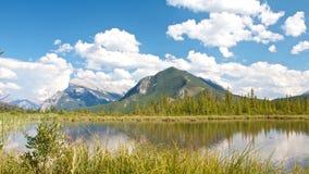 Lacs vermeils derrière l'herbe Photographie stock libre de droits