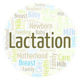 Lactation in a shape of circle word cloud. Wordcloud made with text only vector illustration