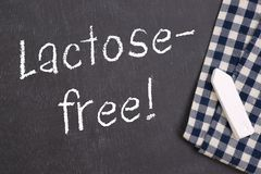 Lactose free. Chalkboard with text: Lactose free Royalty Free Stock Photo