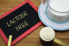 Lactose free concept. Lactose free word on chalk board with a cup of milk and  milk powder Stock Photos