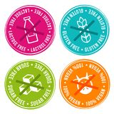 Lactose free, Gluten free, Sugar free and 100% vegan Badges. Eps10 Vector Stock Illustration
