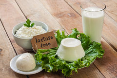 Lactose free intolerance. Food with background Royalty Free Stock Photography