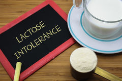 Lactose intolerance concept. Lactose intolerance word on chalk board with a cup of milk and  milk powder Royalty Free Stock Photos