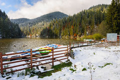 Lacul Rosu with snow, Red Lake, Romania Royalty Free Stock Photography