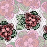 Lacy background. Seamless reticulated background with beautiful pink flowers Stock Image