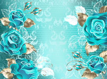 Lacy background with turquoise roses Royalty Free Stock Photo