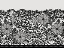 Lacy black seamless pattern of flower ribbon. Royalty Free Stock Image
