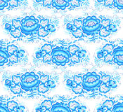 Lacy blue floral vector seamless pattern Stock Images