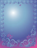 Lacy Border. Flower butterflies and lacy swirls frame a gradient pink and blue background Stock Image