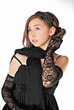Lacy chic. Portrait of the elegant teenage girl wearing lacy gloves stock photography