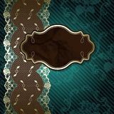Lacy design with brown label on dark green Stock Images