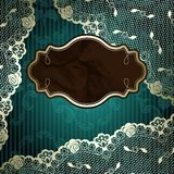 Lacy design with brown label on dark green Royalty Free Stock Image