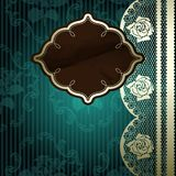 Lacy design with brown label on dark green Royalty Free Stock Images
