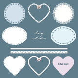 Lacy doilies. Oval, round, in the shape of heart napkins and straight lace set Stock Images