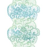 Lacy elegant watercolor border. Lacy vintage trim. Stock Photos