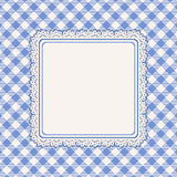 Lacy frame and blue checked background Royalty Free Stock Images