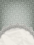 Lacy frame on seamless retro pattern Royalty Free Stock Photos