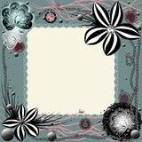 Frame of lace with many elements vector illustration