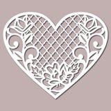 Lacy Heart Cutting Files för att gifta sig inbjudan stock illustrationer