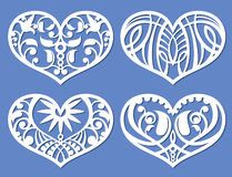 Lacy hearts, laser cutting fretwork shapes, plotter cutout love vector symbols. Heart with floral pattern, illustration of decoration heart love Stock Images