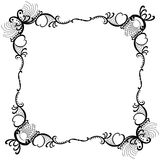 Lacy Hearts Silhouette Border Frame. Geometric abstract monochrome romantic hearts and lace work silhouette border frame in black color Stock Photo
