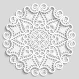 Lacy paper doily, decorative flower, decorative snowflake, lacy mandala, lace pattern, arabic ornament Stock Photo
