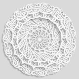 Lacy paper doily, decorative flower, decorative snowflake, lacy mandala, lace pattern, arabic ornament, indian ornament Royalty Free Stock Images