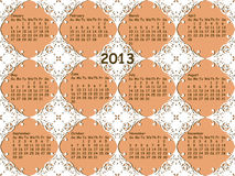 Lacy pattern with 2013 calendar. Seamless vintage lacy pattern with 2013 calendar royalty free illustration