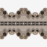 Lacy ribbon. Seamless horizontal lace border. Decoration of floral ornament for scrapbooking. Stock Photos