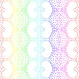 Lacy Romantic Hearts Seamless Background. Rainbow colors romantic lacy hearts background seamless pattern vector illustration