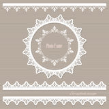Lacy round frame and borders. Royalty Free Stock Image
