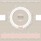 Lacy round frame and borders. Vintage. Lacy round frame and borders. Scrapbook design elements. Vintage Stock Photo