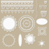 Lacy scrapbook design elements. Can be used as napkins, borders, ribbons and other decorations Stock Image