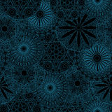 Lacy seamless floral pattern in blue and black Stock Photo