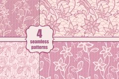 Lacy seamless pattern set. Lace seamless floral patterns, vintage illusration set Royalty Free Stock Photos